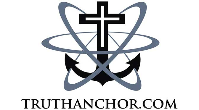 A black anchor sitting upright on a white background, the top of the anchor displaying a white cross inset within the two arms and shank. There are three gray atomic rings surrounding the anchor, and the name TRUTHANCHOR.COM is underneath the anchor.