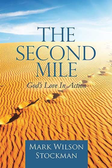 A book cover which shows a yellow sand dune stretching to the horizon and a single set of footprints, The footprints travel from the bottom left to the top right of the sand dune and seem to disappear into a bright ligtht on the horizon. The sky is blue with wispy white clouds.